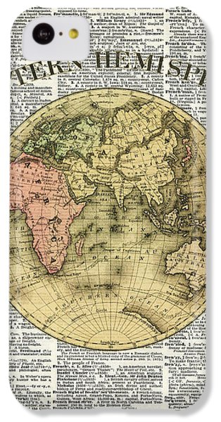Eastern Hemisphere Earth Map Over Dictionary Page IPhone 5c Case by Jacob Kuch