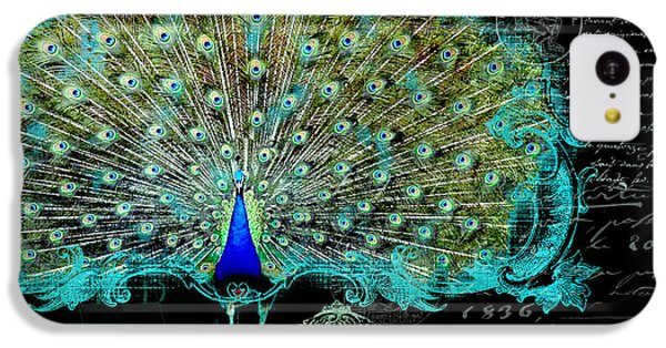Elegant Peacock W Vintage Scrolls 3 IPhone 5c Case by Audrey Jeanne Roberts
