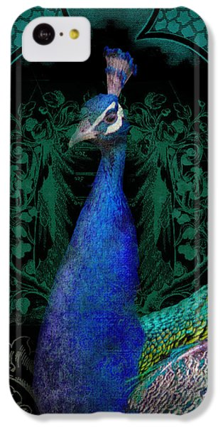 Elegant Peacock W Vintage Scrolls  IPhone 5c Case by Audrey Jeanne Roberts