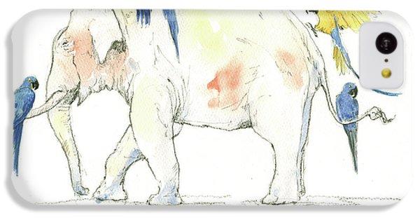Elephant And Parrots IPhone 5c Case by Juan Bosco