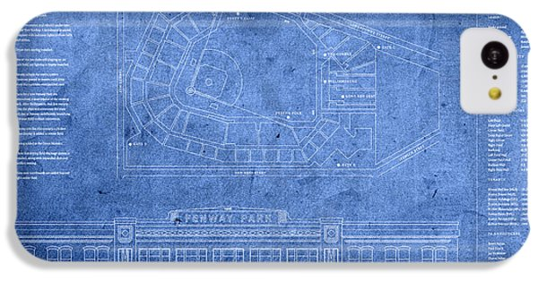 Fenway Park Blueprints Home Of Baseball Team Boston Red Sox On Worn Parchment IPhone 5c Case by Design Turnpike