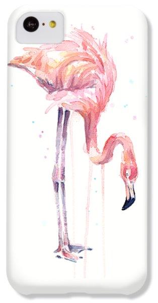 Flamingo Illustration Watercolor - Facing Left IPhone 5c Case by Olga Shvartsur