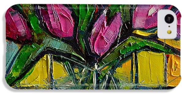 Floral Miniature - Abstract 0615 - Pink Tulips IPhone 5c Case by Mona Edulesco