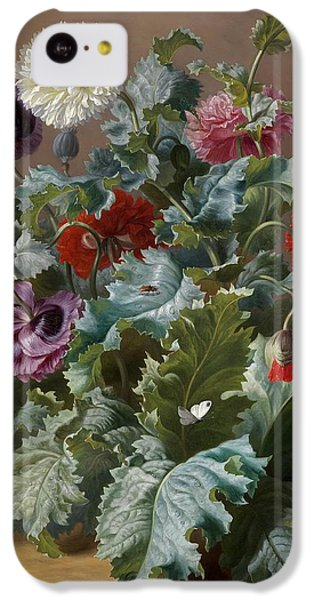Flower Piece With Poppies And Butterflies IPhone 5c Case by Celestial Images