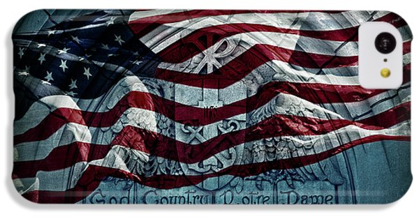 God Country Notre Dame American Flag IPhone 5c Case by John Stephens