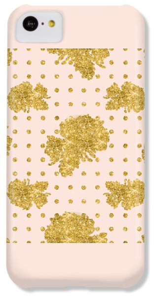 Golden Gold Blush Pink Floral Rose Cluster W Dot Bedding Home Decor IPhone 5c Case by Audrey Jeanne Roberts