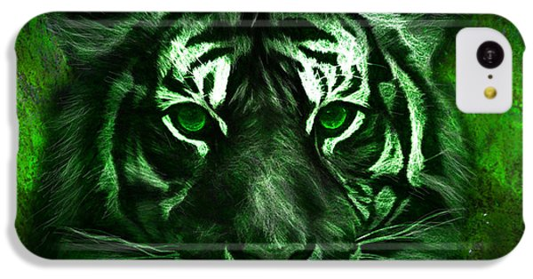 Green Tiger IPhone 5c Case by Michael Cleere