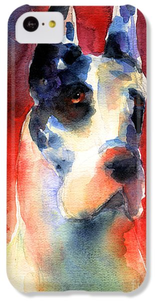 Harlequin Great Dane Watercolor Painting IPhone 5c Case by Svetlana Novikova
