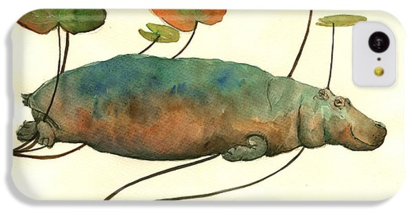 Hippo Swimming With Water Lilies IPhone 5c Case by Juan  Bosco