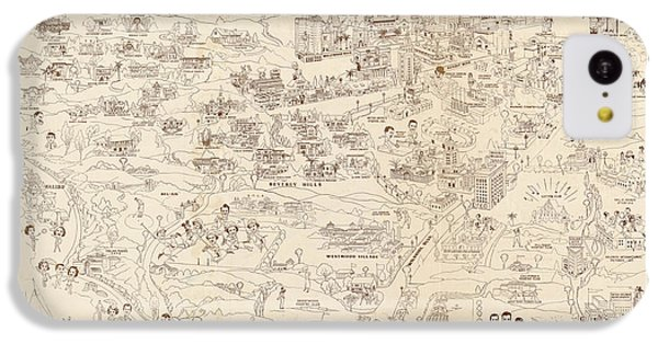 Hollywood Map To The Stars 1937 IPhone 5c Case by Don Boggs