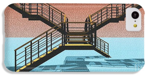 Large Stair 38 On Cyan And Strange Red Background Abstract Arhitecture IPhone 5c Case by Pablo Franchi