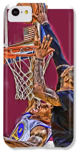 Lebron James Cleveland Cavaliers Oil Art IPhone 5c Case by Joe Hamilton