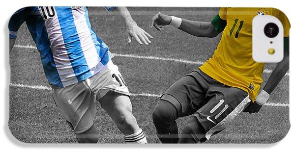 Lionel Messi And Neymar Clash Of The Titans At Metlife Stadium  IPhone 5c Case by Lee Dos Santos