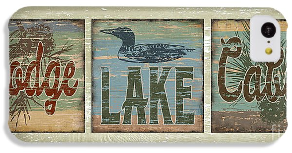 Lodge Lake Cabin Sign IPhone 5c Case by Joe Low