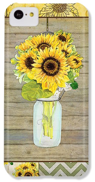 Modern Rustic Country Sunflowers In Mason Jar IPhone 5c Case by Audrey Jeanne Roberts