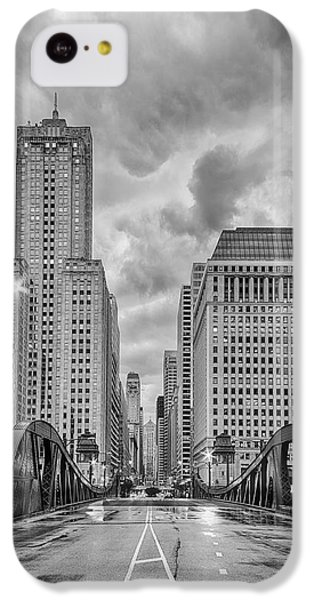 Monochrome Image Of The Marshall Suloway And Lasalle Street Canyon Over Chicago River - Illinois IPhone 5c Case by Silvio Ligutti