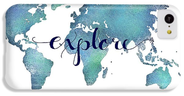 Navy And Teal Explore World Map IPhone 5c Case by Michelle Eshleman