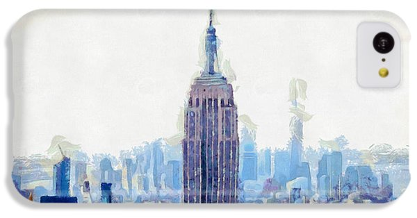 New York Skyline Art- Mixed Media Painting IPhone 5c Case by Wall Art Prints