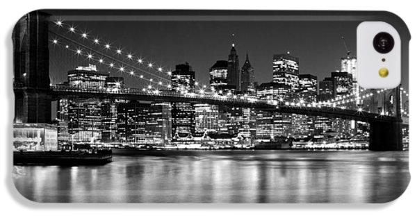 Night Skyline Manhattan Brooklyn Bridge Bw IPhone 5c Case by Melanie Viola