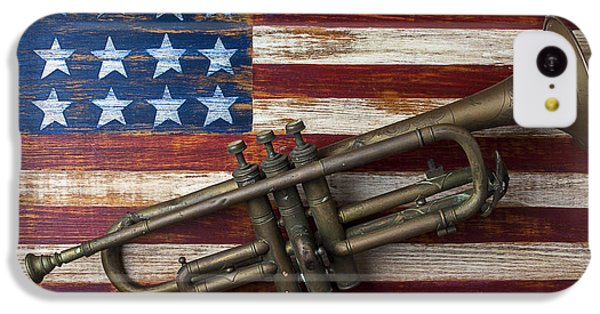 Old Trumpet On American Flag IPhone 5c Case by Garry Gay