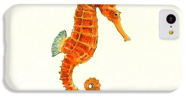 Orange Seahorse IPhone 5c Case by Juan Bosco