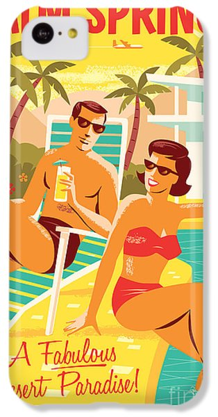 Palm Springs Retro Travel Poster IPhone 5c Case by Jim Zahniser