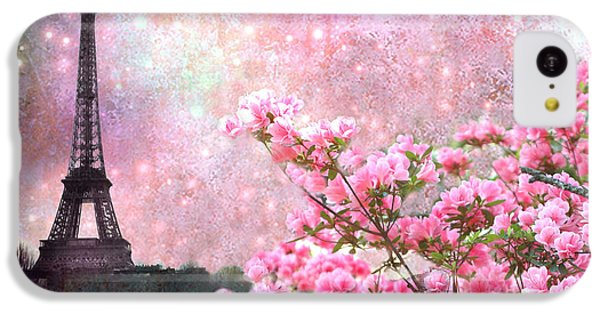 Paris Eiffel Tower Cherry Blossoms - Paris Spring Eiffel Tower Pink Blossoms  IPhone 5c Case by Kathy Fornal