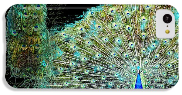 Peacock Pair On Tree Branch Tail Feathers IPhone 5c Case by Audrey Jeanne Roberts