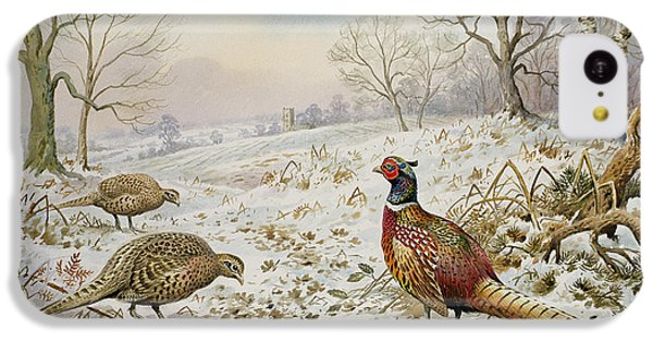 Pheasant And Partridges In A Snowy Landscape IPhone 5c Case by Carl Donner