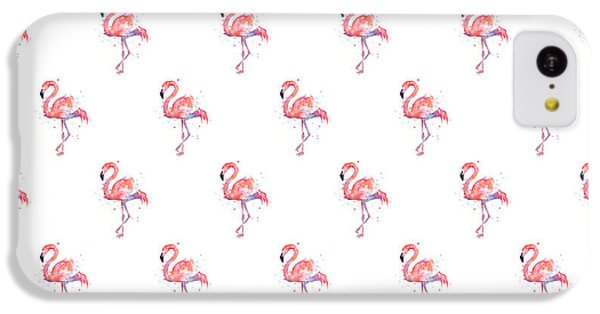 Pink Flamingo Watercolor Pattern IPhone 5c Case by Olga Shvartsur