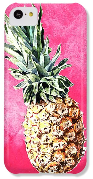 Pink Pineapple Bright Fruit Still Life Healthy Living Yoga Inspiration Tropical Island Kawaii Cute IPhone 5c Case by Laura Row