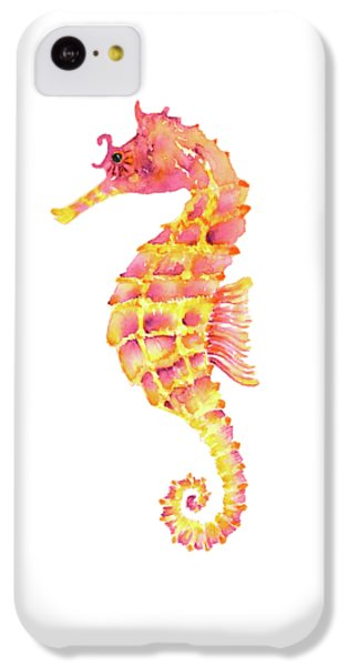Pink Yellow Seahorse - Square IPhone 5c Case by Amy Kirkpatrick