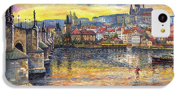 Prague Charles Bridge And Prague Castle With The Vltava River 1 IPhone 5c Case by Yuriy  Shevchuk