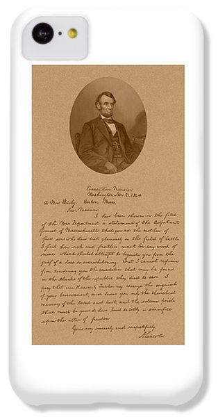 President Lincoln's Letter To Mrs. Bixby IPhone 5c Case by War Is Hell Store