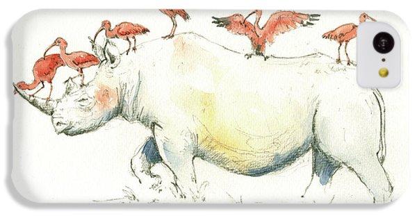 Rhino And Ibis IPhone 5c Case by Juan Bosco