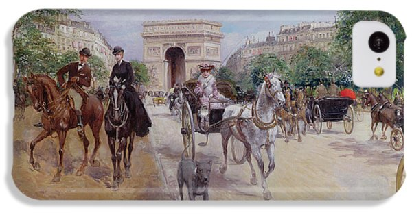 Riders And Carriages On The Avenue Du Bois IPhone 5c Case by Georges Stein