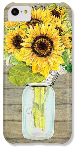 Rustic Country Sunflowers In Mason Jar IPhone 5c Case by Audrey Jeanne Roberts