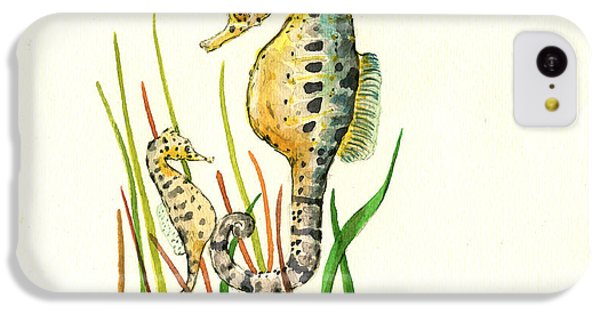 Seahorse Mom And Baby IPhone 5c Case by Juan Bosco