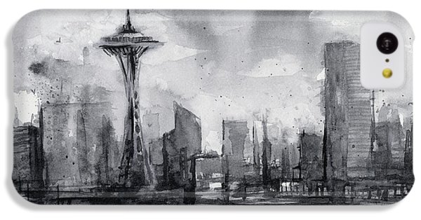 Seattle Skyline Painting Watercolor  IPhone 5c Case by Olga Shvartsur