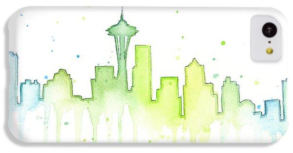 Seattle Skyline Watercolor  IPhone 5c Case by Olga Shvartsur