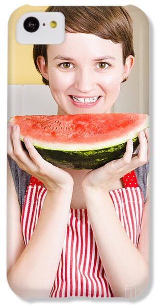 Smiling Young Woman Eating Fresh Fruit Watermelon IPhone 5c Case by Jorgo Photography - Wall Art Gallery
