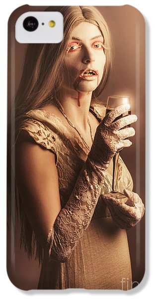 Spooky Vampire Girl Drinking A Glass Of Red Wine IPhone 5c Case by Jorgo Photography - Wall Art Gallery