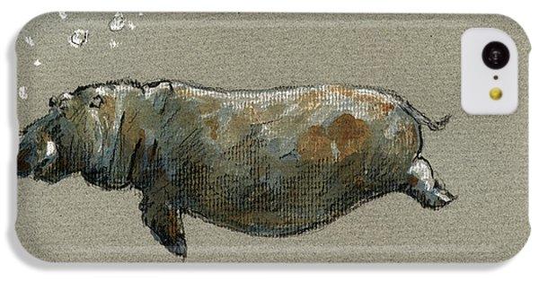 Swimming Hippo IPhone 5c Case by Juan  Bosco