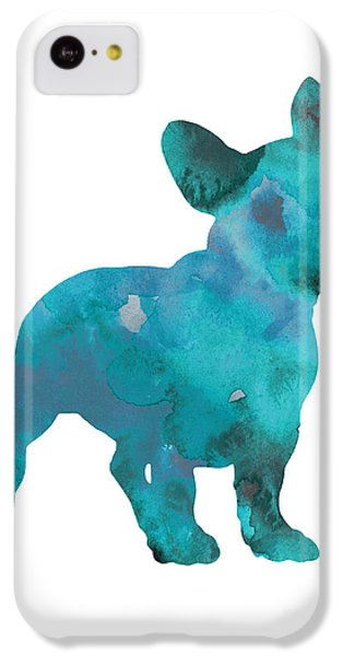 Teal Frenchie Abstract Painting IPhone 5c Case by Joanna Szmerdt