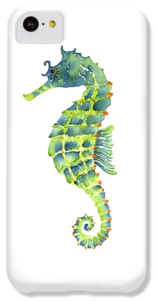 Teal Green Seahorse - Square IPhone 5c Case by Amy Kirkpatrick