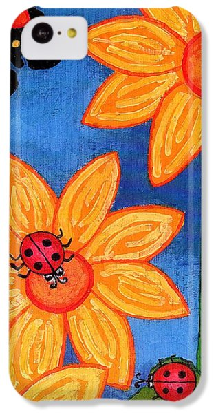 Three Ladybugs And Butterfly IPhone 5c Case by Genevieve Esson