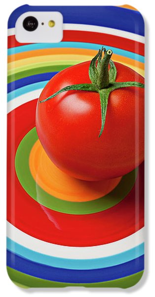 Tomato On Plate With Circles IPhone 5c Case by Garry Gay