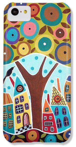 Tree Eight Houses And A Bird IPhone 5c Case by Karla Gerard