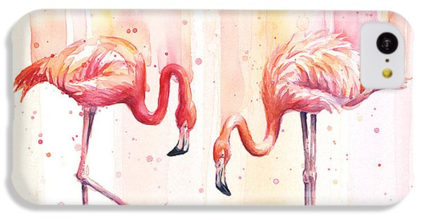 Two Flamingos Watercolor IPhone 5c Case by Olga Shvartsur