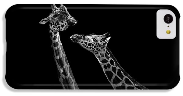Two Giraffes In Black And White IPhone 5c Case by Lukas Holas